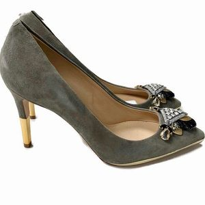J Crew Collection Everly Jeweled Suede Heels Pumps